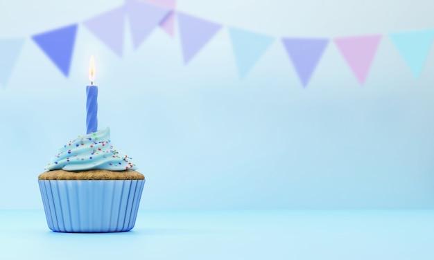 Świąteczne ciastko pokryte niebieskim lukrem z jedną świecą na niebieskim tle z niewyraźne flagi, renderowania 3d.