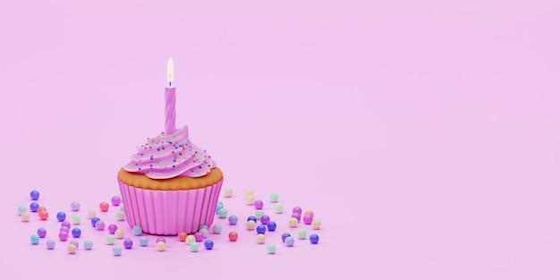 Świąteczne ciastko pokryte różową glazurą z jedną świeczką i kolorowe kropi na różowym tle, renderowania 3d. kartkę z życzeniami urodzinowymi.