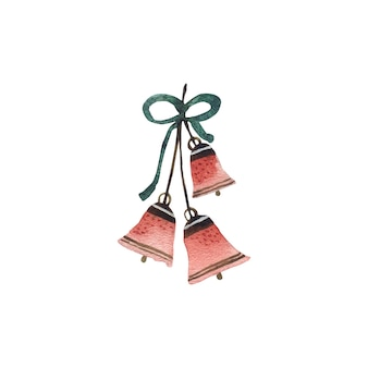 Świąteczne czerwone dzwoneczki z kokardą malowane akwarelami w stylu skandynawskim