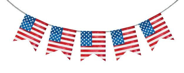 Świąteczne dekoracje malowane w narodowych barwach flagi amerykańskiej.