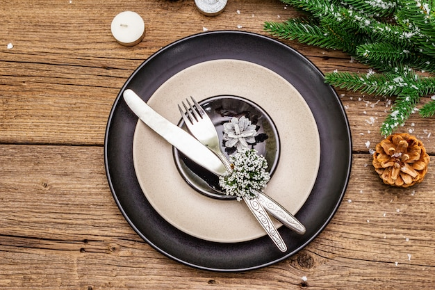 Świąteczne i noworoczne nakrycie obiadowe