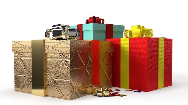 Świąteczne lub urodzinowe kolorowe pudełka z wstążkami