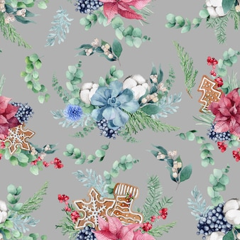 Świąteczne pierniki i kwiaty