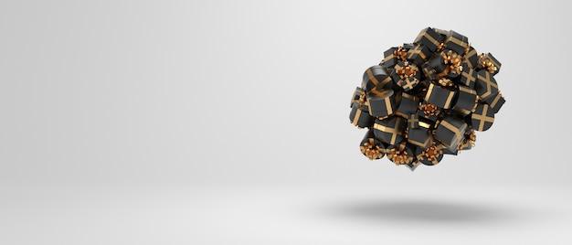 Świąteczne prezenty pudełka kula tło dekoracja z czarnymi prezentami na długiej białej kartce z życzeniami
