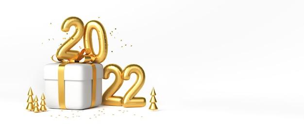 Świąteczne pudełko ze złotą wstążką i złotymi cyframi 2022 nad nim. skopiuj miejsce. renderowania 3d.