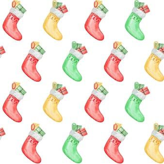 Świąteczne skarpetki z prezentami, papier cyfrowy prezent, wzór akwarela bez szwu, tło dla dzieci