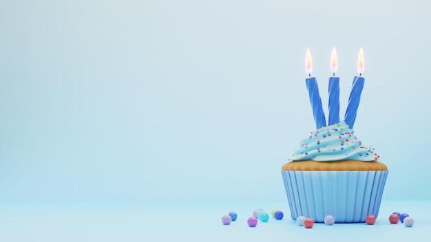 Świąteczne tło z ciastkiem z niebieską glazurą i trzema świecami na niebieskim, pustym miejscu po lewej stronie. renderowania 3d. kartkę z życzeniami urodzinowymi.