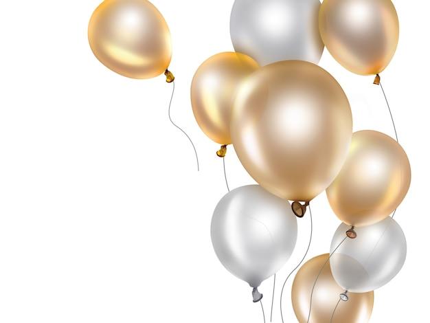 Świąteczne tło ze złotymi i białymi balonami