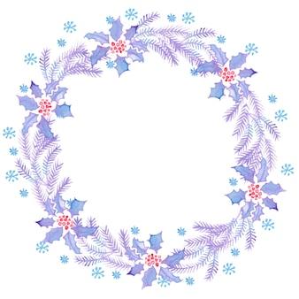 Świąteczne wieńce do dekoracji akwareli