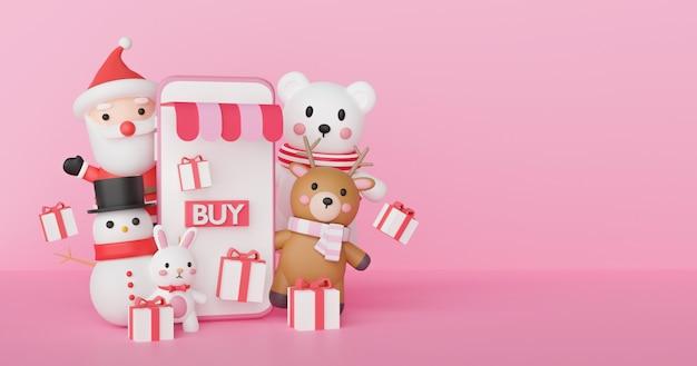 Świąteczne zakupy online z telefonem, mikołajem i przyjaciółmi renderowania 3d.