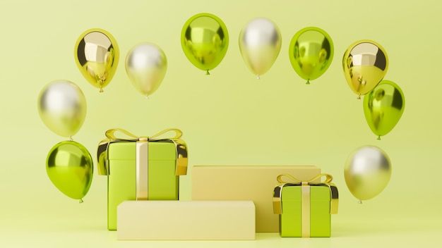 Świąteczny baner wesoły świąteczny plakat zielony odcień z balonami na prezenty i stojakiem dla twoich marek