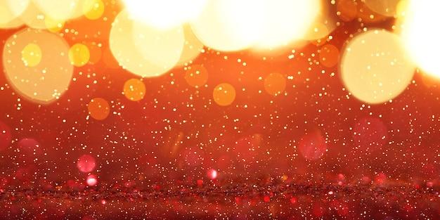 Świąteczny czerwony brokat z błyskami. zdjęcia makro, abstrakcyjne tło