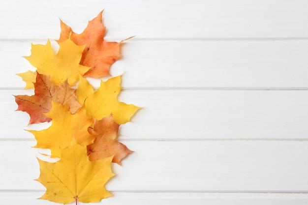 Świąteczny jesienny wystrój z liści klonu na białym tle drewnianych. płaska świecka jesienna kompozycja z miejsca na kopię.
