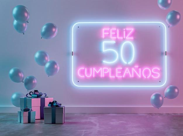 Świąteczny neon 50. aranżacja urodzinowa