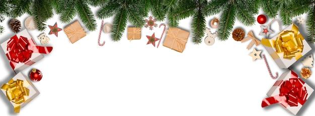Świąteczny poziomy baner płaski świecki ornament ozdoba z miejscem na kopię na białym tle
