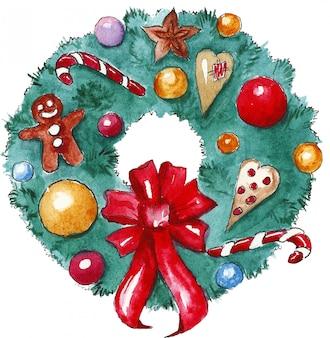 Świąteczny wieniec bożonarodzeniowy