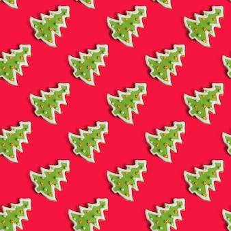 Świąteczny wzór wykonany z jodły z piernika. koncepcja nastroju świąt bożego narodzenia i zimy. leżał płasko.