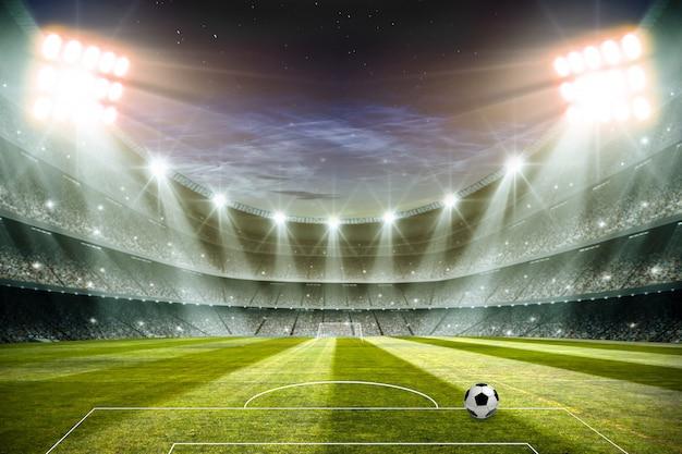 Światła przy nocą i stadionu futbolowego 3d renderingiem