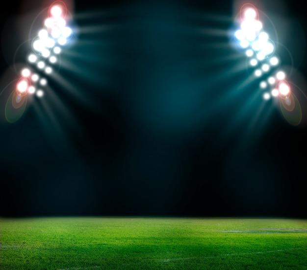 Światła w nocy i renderowania 3d stadionu
