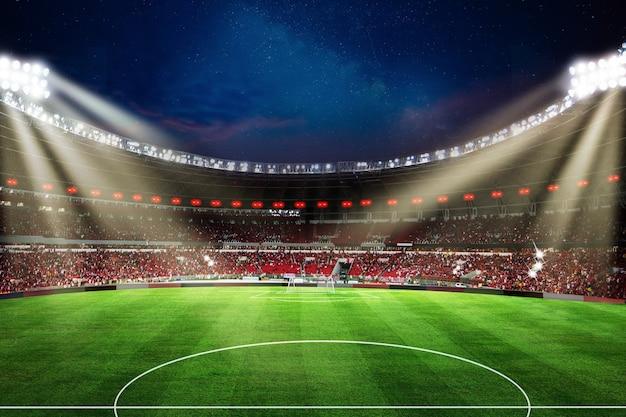 Światła w nocy i stadion piłkarski renderowania 3d green grass goal spot