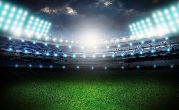 Światła w nocy pusty stadion