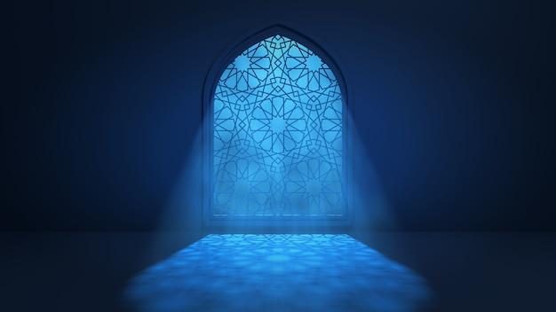 Światło księżyca wpada przez okno do wnętrza islamskiego meczetu