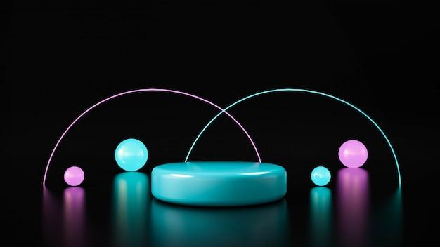Światło neonowe w kształcie koła. streszczenie futurystyczne tło