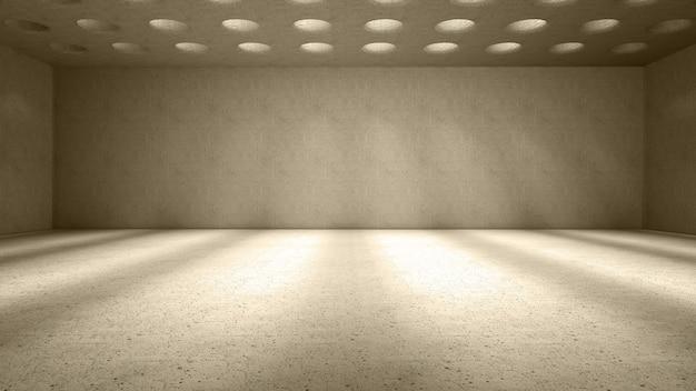 Światło prześwituje przez okrągłe otwory na suficie, rzucając cienie