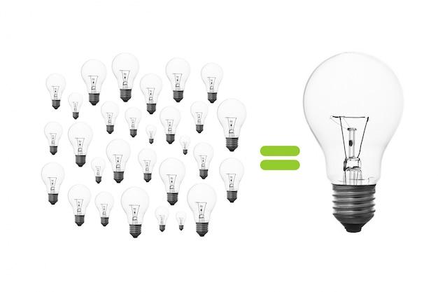 Światło żarówki kreatywność burzy mózgów osiągnięciem