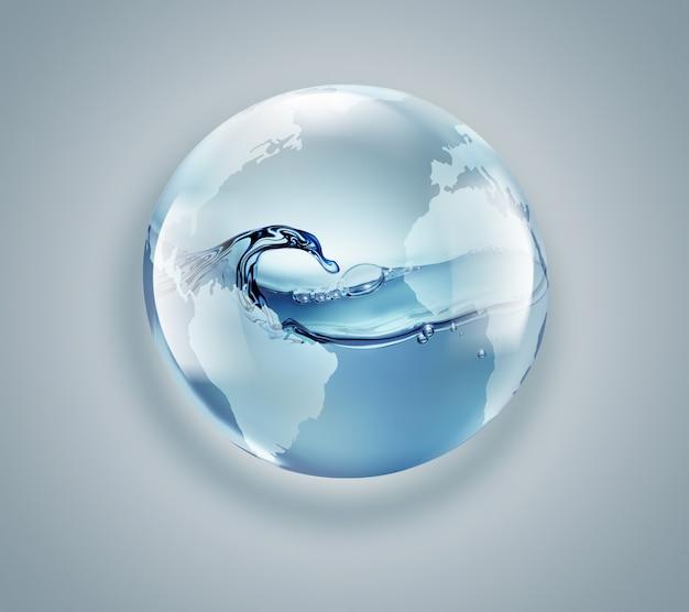 Światowa kula z czystą wodą wewnątrz na jasnym tle