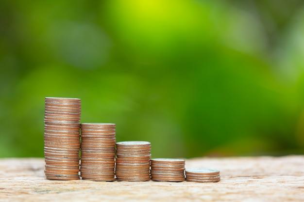 Światowy dzień habitatu, zamknij zdjęcie stosu monet