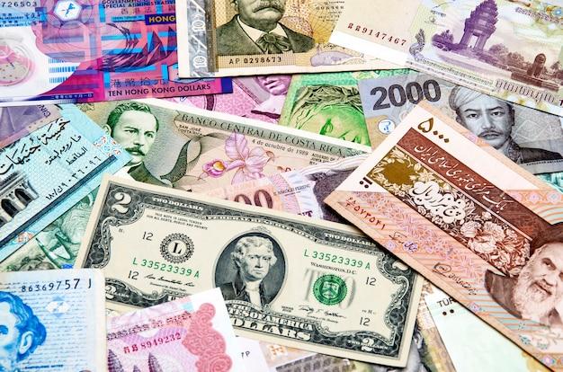 Światowy kolaż pieniędzy