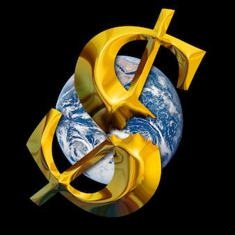 Światowy kryzys finansowy. złamany złoty dolar na tle ziemi. elementy tego obrazu dostarczone przez nasa