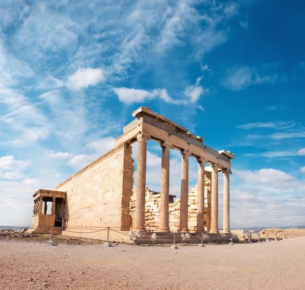 Świątynia erechtejon akropol, ateny, grecja, panorama