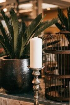 Świeca na świeczniku wśród wystroju domu i donicy z kwiatami