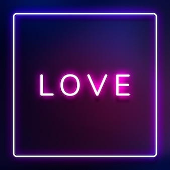 Świecąca neonowa typografia love