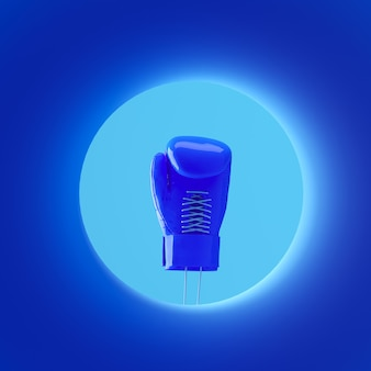 Świecąca niebieska rękawica bokserska