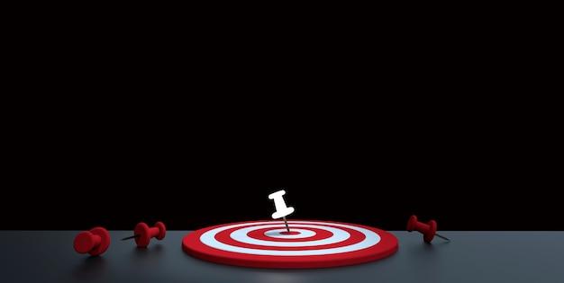 Świecąca pinezka umieszczona w celu na ciemnym tle. koncepcja celu biznesowego. renderowania 3d