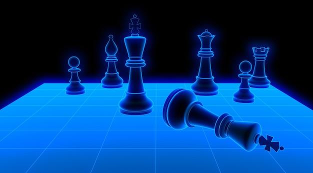 Świecąca szachownica. renderowania 3d czarne tło na białym tle.