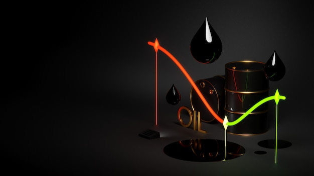 Świecąca tabela cen ropy z beczkami
