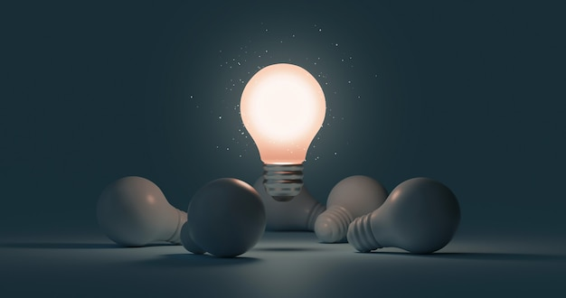 Świecąca żarówka pomysł i innowacja myślenie twórczej koncepcji na sukces inspiracji ciemnym tle z symbolem rozwiązania projektu lampy elektrycznej. renderowanie 3d.