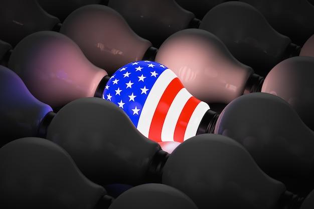 Świecąca żarówka z symbolem usa w otoczeniu nie świecących żarówek. tematy polityczne