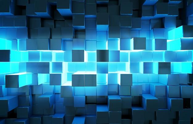 Świecące czarne i niebieskie kwadraty wzór tła