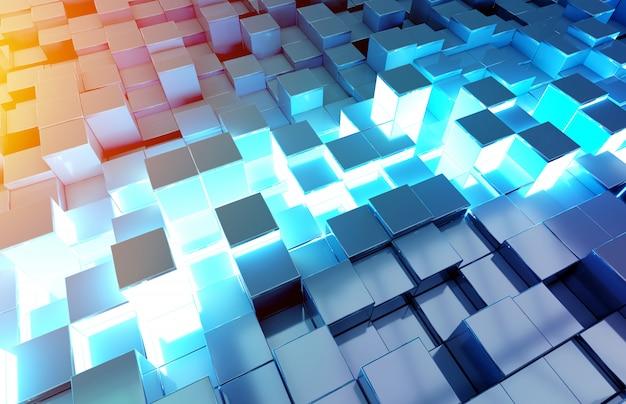 Świecące czarne niebieskie i pomarańczowe kwadraty wzór tła