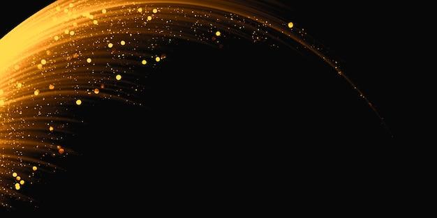 Świecące fale ze złotym efektem świetlnym na czarnej, błyszczącej ścieżce pyłu gwiazdy