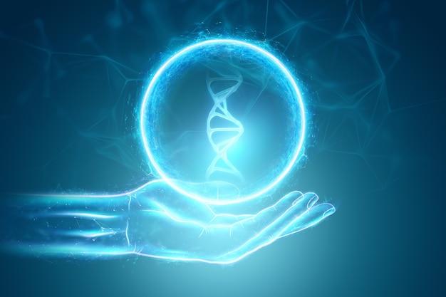 Świecące hologram cząsteczki dna w ręku biznesmena na niebieskim tle. koncepcja technologii medycznej, nauka, biotechnologia. skopiuj miejsce. renderowania 3d, ilustracja 3d.
