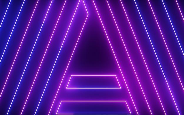 Świecące i błyszczące kolorowe światło neon abecadło streszczenie linii na czarnym tle