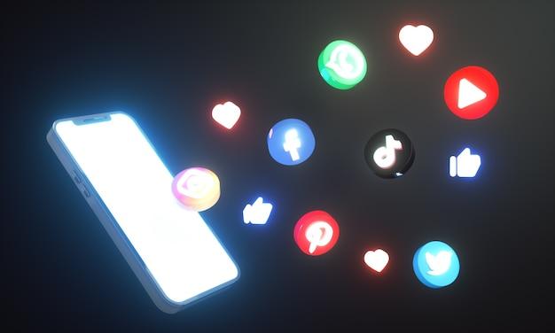 Świecące ikony mediów społecznościowych i logo wokół smartfona 3d