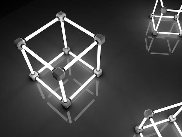 Świecące kostki świetlówek. abstrakcyjna kompozycja obiektów do przetwarzania geometrycznego.