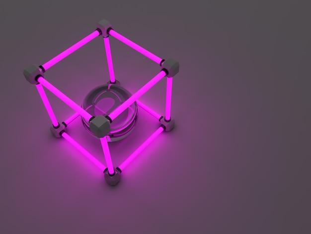 Świecące kostki świetlówek. abstrakcyjna kompozycja obiektów do przetwarzania geometrycznego